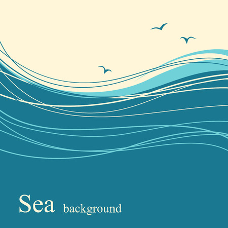 sea horizon: Sea wave background for text.Vector blue landscape with birds