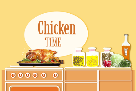 roasting pan: Roasted chicken . kitchen background for text