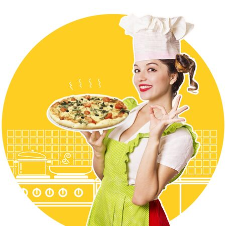Smiling woman chef holding pizza.Kitchen collage Stock Photo