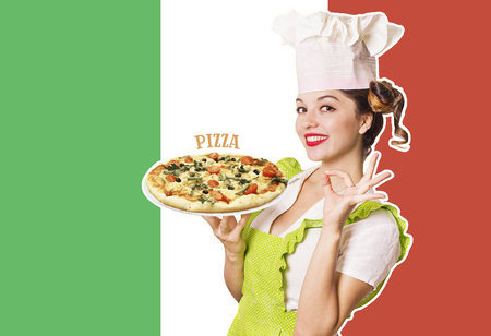 Woman chef holding pizza on Italian flag background with text