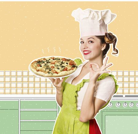 Smiling woman chef holding pizza in the retro kitchen collage Stock Photo