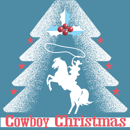Cowboy Christmas card blue background with cowboy on horse and Christmas tree.Holiday card of flat style.