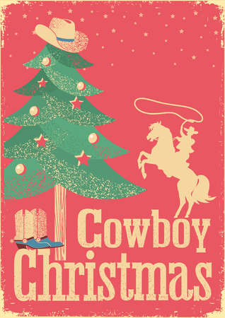 Cowboy Christmas card with tree and winter holiday decoration..Vintage western poster with text