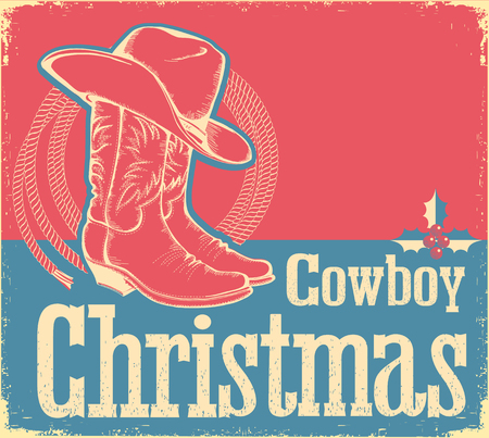 Cowboy Christmas card with western shoes and hat.