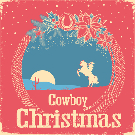 Cowboy retro Christmas card with cowboy lasso and holiday decoration.Vintage american background with text Illustration