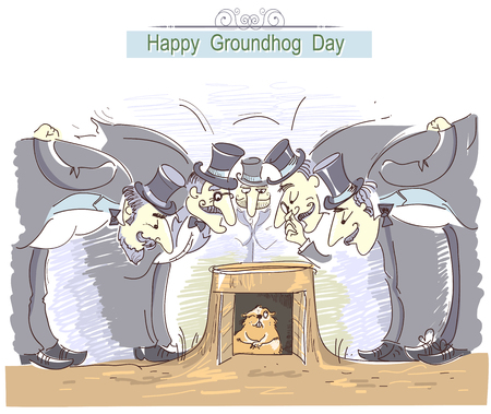 Happy Groundhog day card with group of men in cylinder hats and marmot. Illustration