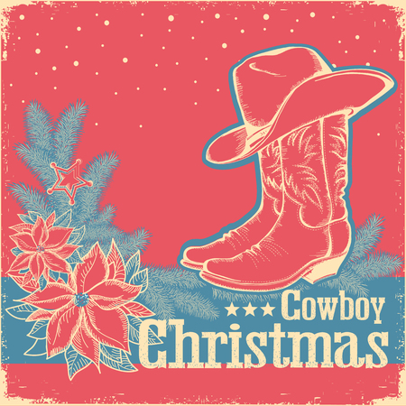 Cowboy Christmas retro card with american western shoe and cowboy hat.