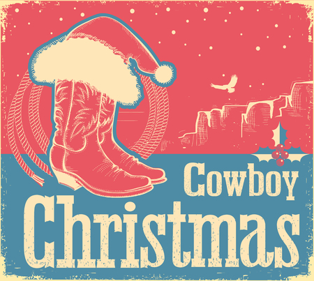 Cowboy Christmas card with western shoes and Santa hat. Illustration