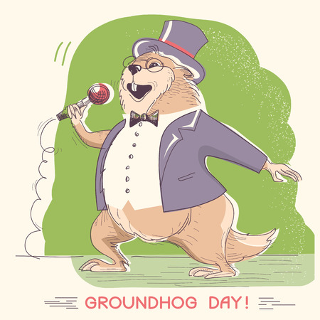 Marmot singer with microphone. Groundhog day hand drawn winter holiday illustration Illustration