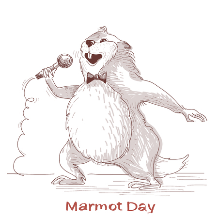 Happy Groundhog day with marmot singer.Vector hand drawn illustration isolated on white