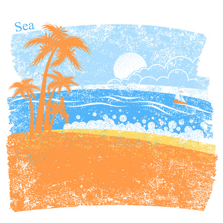 Nature tropical sea background with palm island and blue sea waves and sun vector abstract nature seascape.