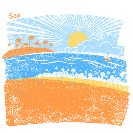Nature sea background with palm island and blue sky vector abstract seascape for text.