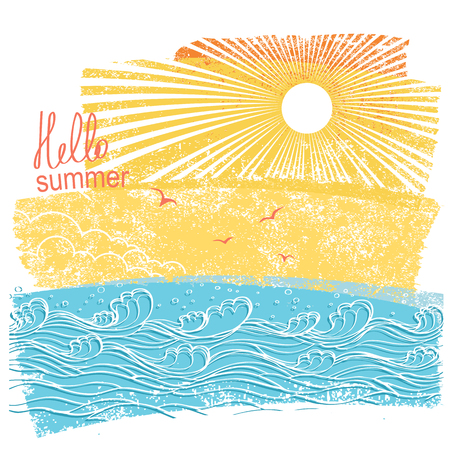 Sea waves and sun vector illustration of sea landscape background with text.