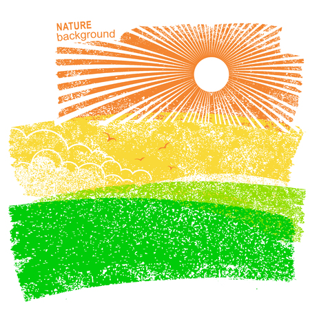 Natural landscape with fields and sun in sky vector abstract illustration on old paper background. Illustration