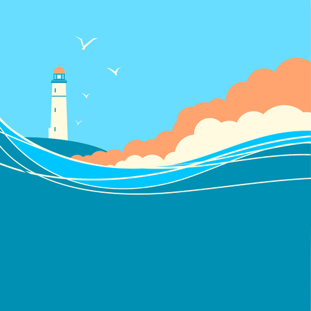 Blue sea waves with lighthouse.Vector nature poster for text Stock Illustratie