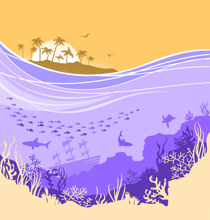 Underwater sea background with tropical island horizone and many fishes.Vector seascape for text or design