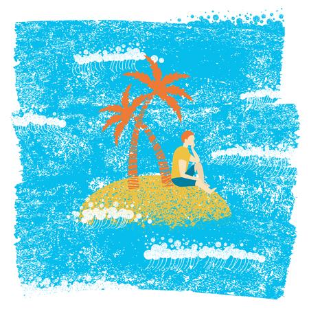 Uomo solo che si siede su un'isola di palma e che osserva le onde del mare.