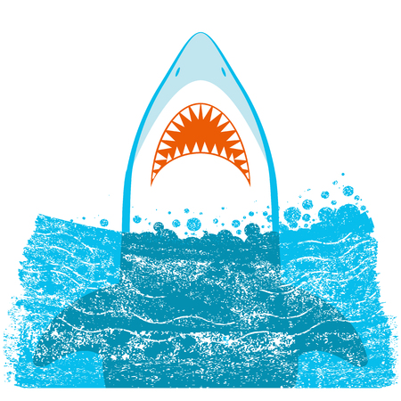 Shark jaws vector blue sea waves illustration isolated on white background. Stock Illustratie