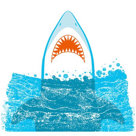 Shark jaws vector blue sea waves illustration isolated on white background. Illustration