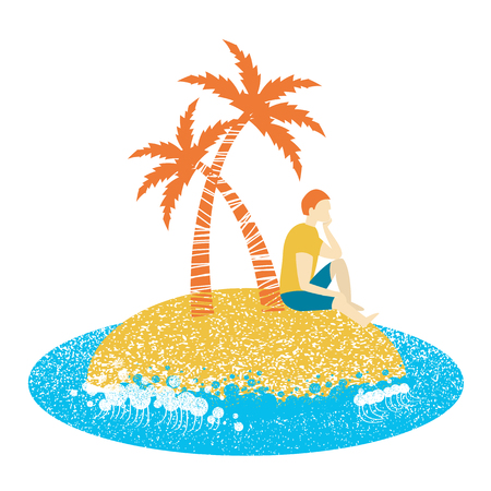 Lonely man sitting on an palm island and looking to sea waves vector isolated on white background. Иллюстрация