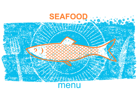 Fish label vintage style of menu on blue old paper background with text.