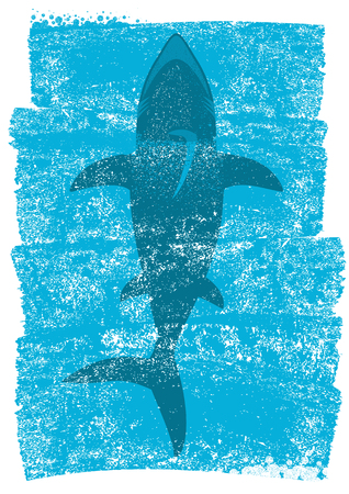 Shark in ocean waves.Vector underwater blue background illustration for text