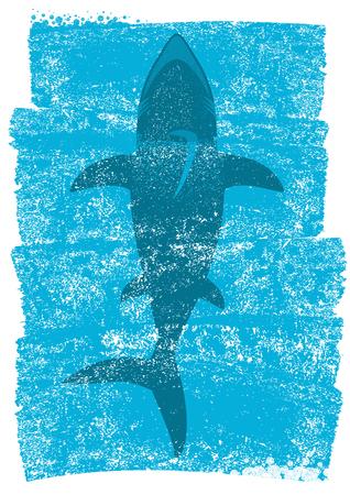 Shark in ocean waves.Vector underwater blue background illustration for text