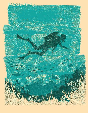 Silhouette of scuba driver swimming underwater vector illustration Vettoriali