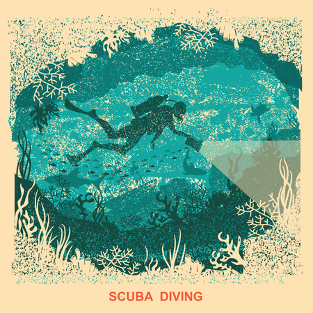 Silhouette of scuba driver swimming deep underwater.Vintage sea poster background