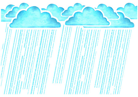 Raining.Watercolor image with blue rain clouds on white background