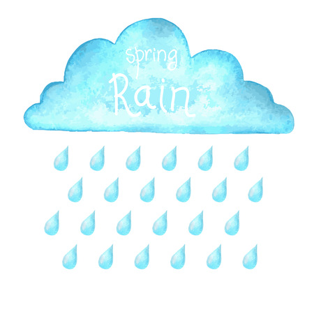 Rain.Vector watercolor image with blue rain cloud on white background