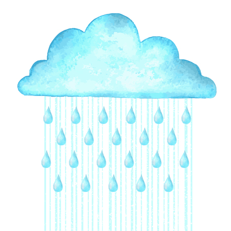 Raining.Vector watercolor image with blue rain cloud on white background
