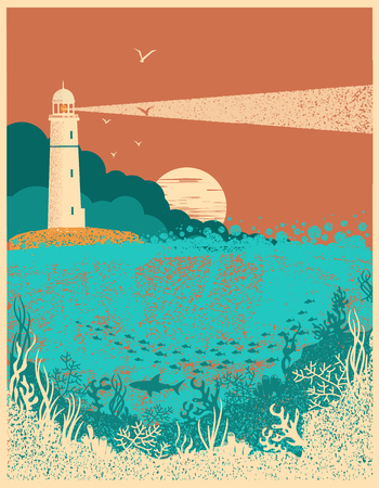 Lighthouse on sunset with sea waves.Underwater sea poster background for text