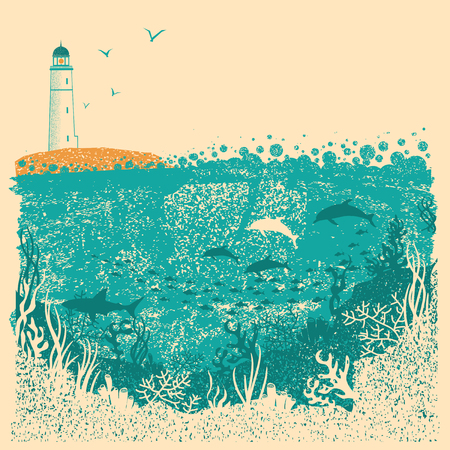 Lighthouse and sea waves with Underwater sea background on old paper texture for text Illustration
