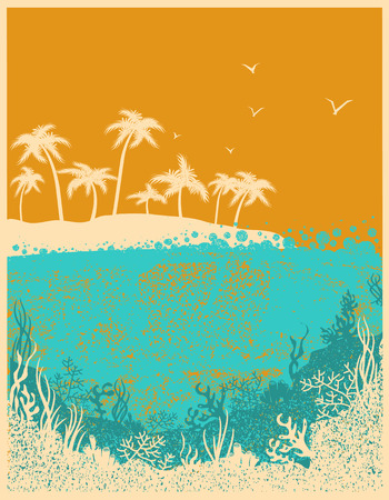 Ocean waves and tropical island in summer hot day.Vector horizon background for text