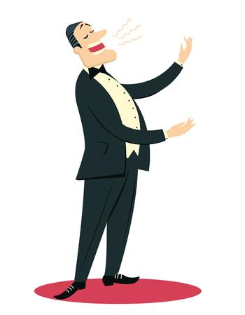 Hombre cantante de ópera canta en el teatro aislado en blanco para el diseño