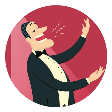 Operazangeres man in zwart pak zingt in theater. Vector geïsoleerd op wit voor ontwerp