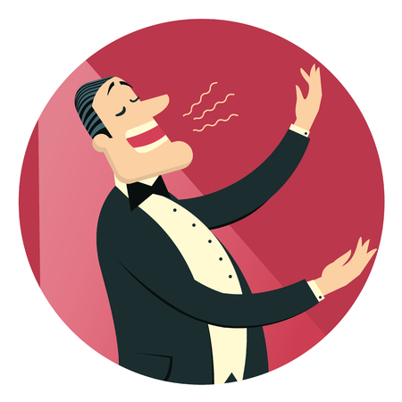 Opera singer man in black suit sings in theater.Vector isolated on white for design Illustration