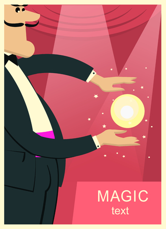 Magician man in black suit doing trick with magic sphere.Vector show theater background for text