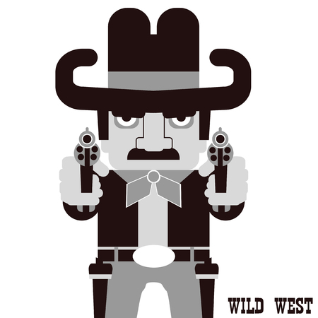 Ð¡owboy aiming the guns. American Western man with cowboy hat  isolated on white Illustration