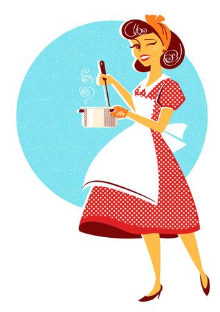 Giovane casalinga in abito retrò rosso che cucina la zuppa nella sua stanza della cucina. Illustrazione vettoriale isolata su bianco