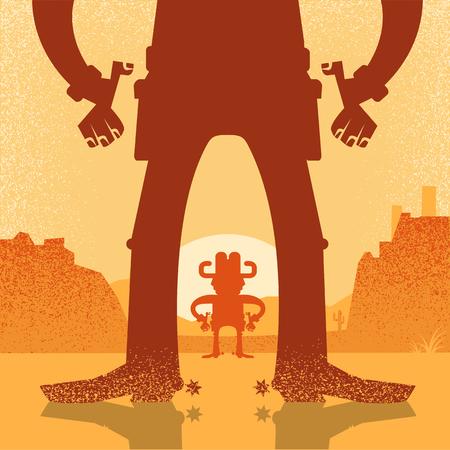 Amerikaanse westerse cowboy duel vuurgevecht. Vectorillustratie met twee cowboys op woestijn achtergrond