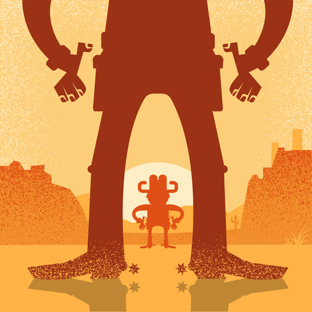American Western cowboy duel gunfight.Vector illustration with two cowboys on desert background