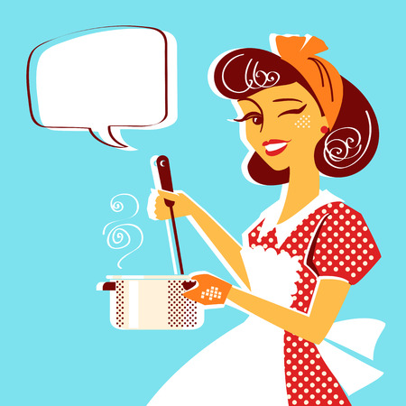 Portrait of Young housewife in red retro dress cooking soup in her kitchen room.Vector illustration Illusztráció