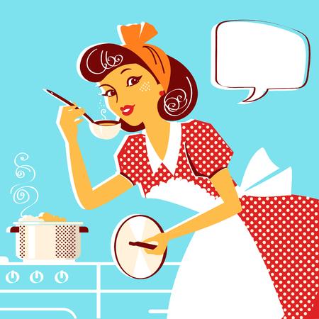 Giovane ritratto di casalinga in abito rosso moda retrò che cucina zuppa. Illustrazione vettoriale isolato su bianco Vettoriali