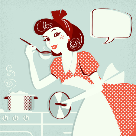Portret gospodyni domowej w sukience retro gotującej zupę w jej pokoju kuchennym. Ilustracja wektorowa tekstu