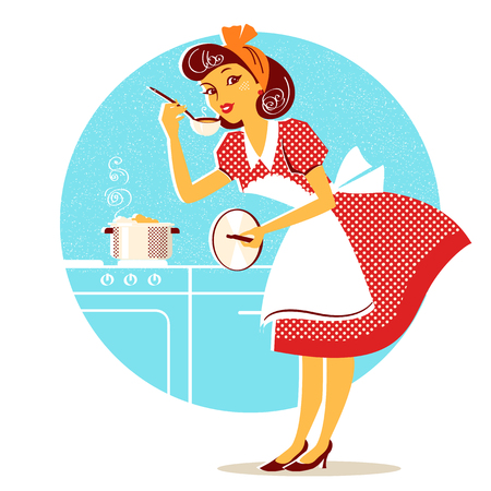 Giovane casalinga in abito rosso moda retrò che cucina zuppa. Illustrazione vettoriale isolato su bianco