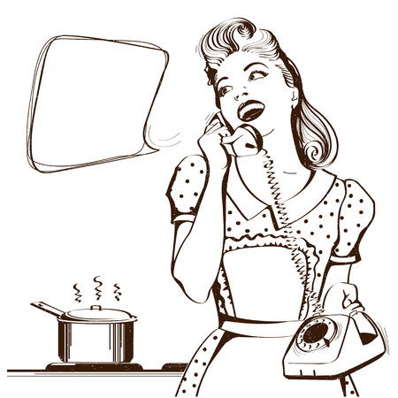 Retro young woman talking on phone in her kitchen.Vector graphic illustration with speech bubble for text