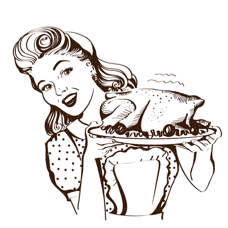 Retro smiling housewife cooks roasted turkey in the kitchen.Vector graphic illustration isolated on white