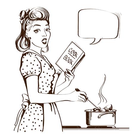 Młoda kobieta gotuje zupę w swoim pokoju w kuchni. Plakat w stylu Reto z dymkiem